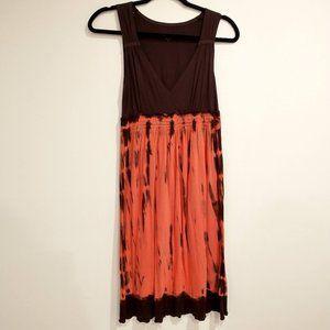 Calvin Klein Jeans brown/orange tie dye midi dress